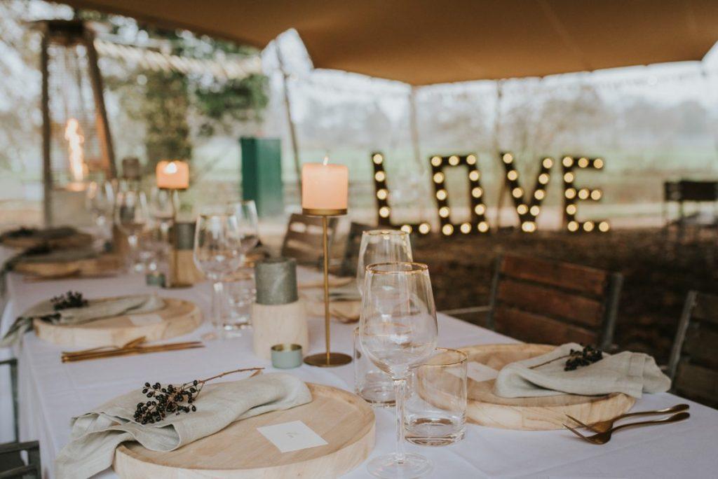 Diner styling bruiloft